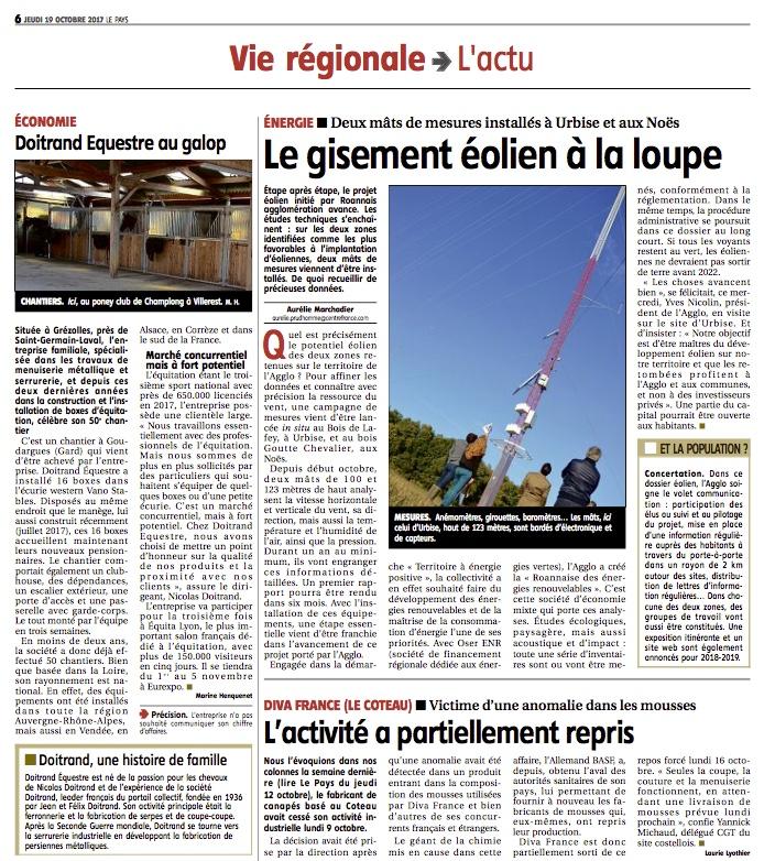 Image de l'article sur Doitrand Équestre dans le journal Le Pays Roannais