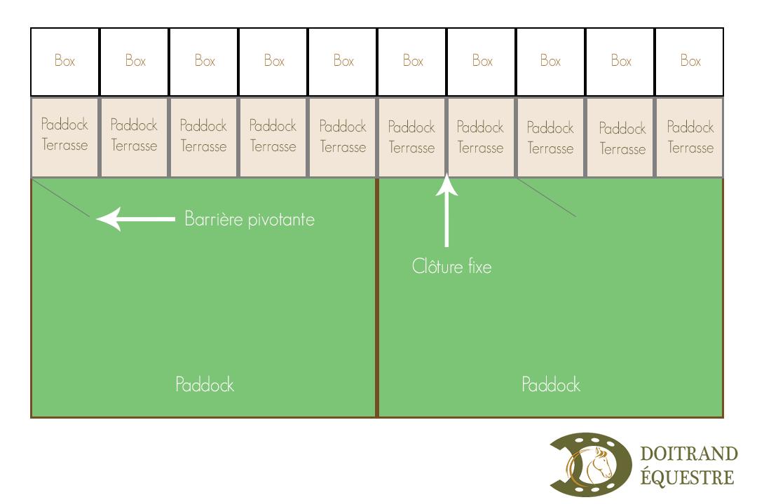 Dessin d'aménagement de paddocks-terrasses avec écurie et paddocks