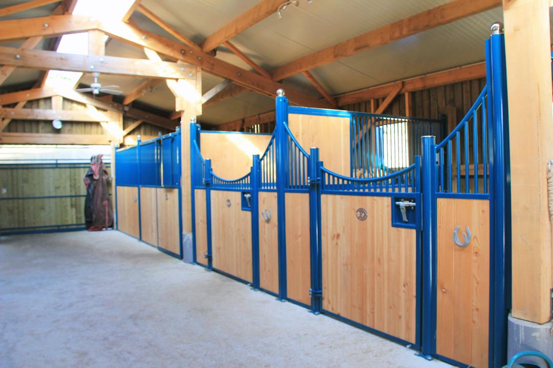 Boxes pour chevaux de couleur bleue