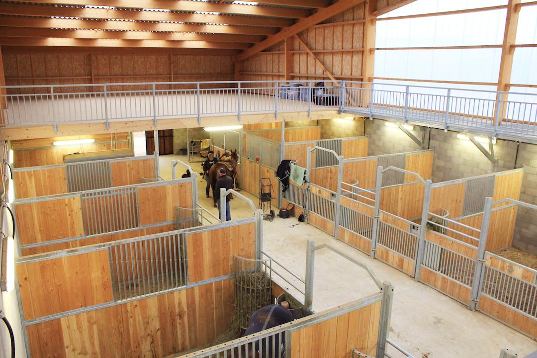Boxes pour chevaux vus depuis le plancher. Garde-corps sur le plancher
