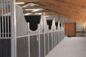 5 boxes pour chevaux modèle Zèbre et remplissage résine