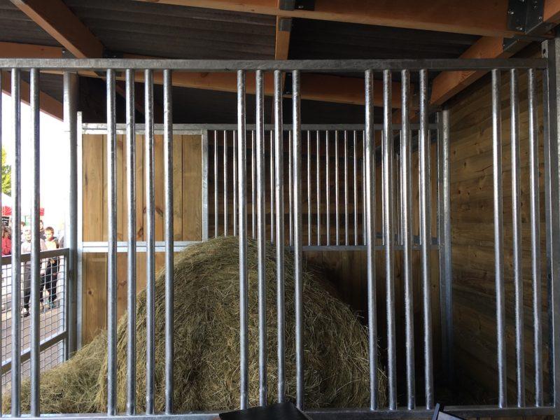 Façade stabulation dans un abri avec du foin